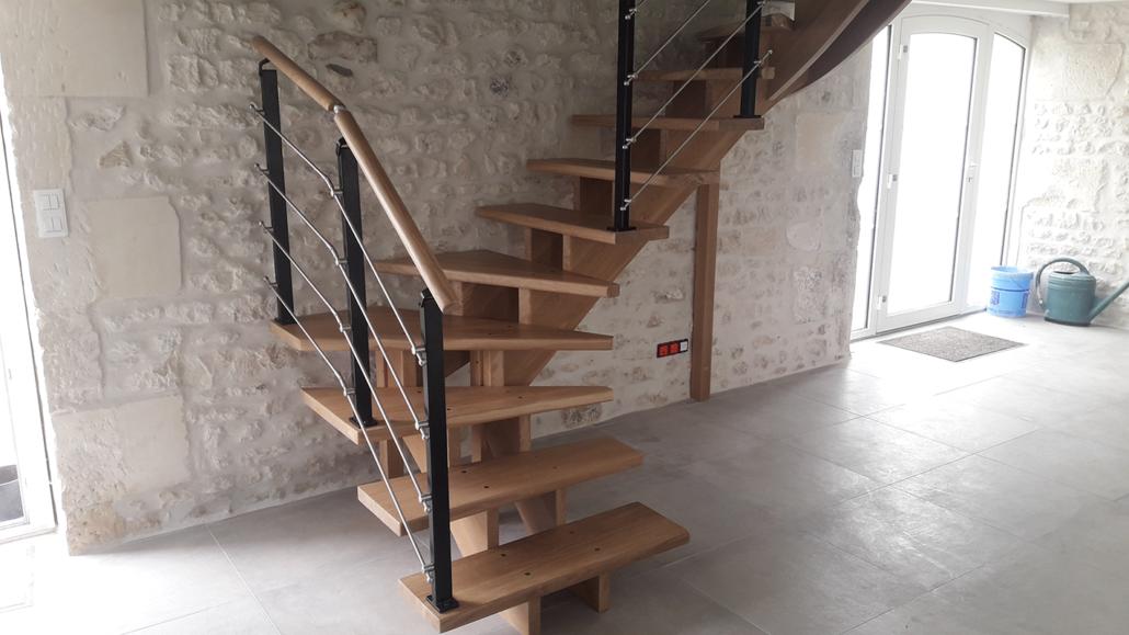 Pose escalier à Jarnac en Charente